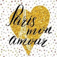 paris, meu amor, letras, sinal, ouro, glitter, coração, com, mão, esboço, eiffel, torre vetor