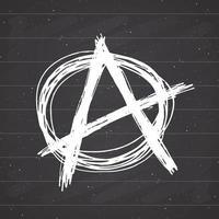 anarquia assinar esboço desenhado de mão. símbolo do punk grunge texturizado. ilustração vetorial no fundo do quadro-negro. vetor