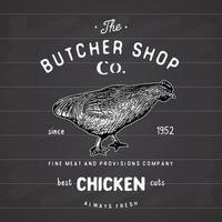 emblema vintage de açougue, produtos de carne de frango, estilo retrô de modelo de logotipo de açougue. design vintage para design de logotipo, etiqueta, emblema e marca. ilustração vetorial no quadro-negro vetor