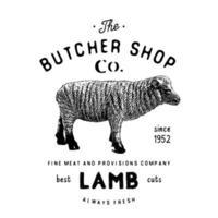 açougueiro emblema vintage produtos de carne de cordeiro, estilo retrô de modelo de logotipo de açougue. design vintage para design de logotipo, etiqueta, emblema e marca. ilustração vetorial isolada no branco vetor