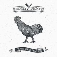 açougueiro emblema vintage produtos de carne de galo, estilo retrô de modelo de logotipo de açougue. design vintage para design de logotipo, etiqueta, emblema e marca. ilustração vetorial vetor