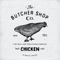 emblema vintage de açougue, produtos de carne de frango, estilo retrô de modelo de logotipo de açougue. design vintage para design de logotipo, etiqueta, emblema e marca. ilustração vetorial vetor