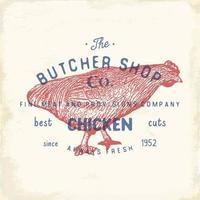 emblema vintage de açougue, produtos de carne de frango, estilo retrô de modelo de logotipo de açougue. design vintage para design de logotipo, etiqueta, emblema e marca. ilustração vetorial. vetor