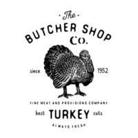 açougueiro emblema vintage produtos de carne de peru, estilo retrô de modelo de logotipo de açougue. design vintage para design de logotipo, etiqueta, emblema e marca. ilustração vetorial isolada no branco vetor