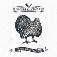 açougueiro emblema vintage produtos de carne de peru, estilo retrô de modelo de logotipo de açougue. design vintage para design de logotipo, etiqueta, emblema e marca. ilustração vetorial. vetor