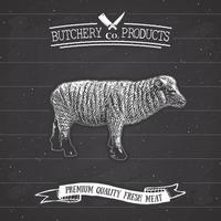açougueiro emblema vintage produtos de carne de cordeiro, estilo retrô de modelo de logotipo de açougue. design vintage para design de logotipo, etiqueta, emblema e marca. ilustração vetorial na lousa. vetor