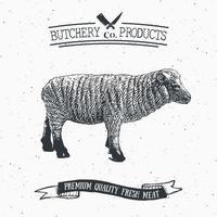 açougueiro emblema vintage produtos de carne de cordeiro, estilo retrô de modelo de logotipo de açougue. design vintage para design de logotipo, etiqueta, emblema e marca. ilustração vetorial. vetor