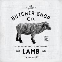 açougueiro emblema vintage produtos de carne de cordeiro, estilo retrô de modelo de logotipo de açougue. design vintage para design de logotipo, etiqueta, emblema e marca. ilustração vetorial vetor