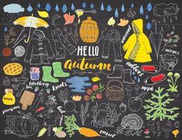 conjunto de temporada de outono. mão desenhada rabiscos e letras de ilustração vetorial. vetor