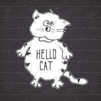 desenho de gato, desenho à mão desenho impressão ilustração vetorial no fundo do quadro-negro vetor