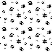 mão desenhada esboço gatos pata e traços padrão sem emenda, elementos de ilustração vetorial isolados no fundo branco vetor