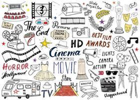 conjunto de cinema e indústria cinematográfica. esboço desenhado de mão, ilustração vetorial. vetor