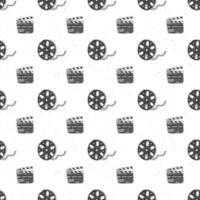 fita de cinema, rolo de filme e claquete vintage padrão sem emenda, esboço desenhado à mão, filme retro e indústria cinematográfica, ilustração vetorial vetor