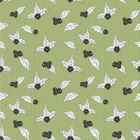 bagas e folhas de azevinho mão desenhada esboço retrô, vintage padrão sem emenda. ilustração vetorial. vetor