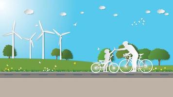 papel dobrando ilustração em vetor estilo origami de arte. energia renovável verde, ecologia, tecnologia, economia de energia, conceitos ecologicamente corretos, pai e filho de mãos dadas andando de bicicleta no prado