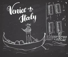 Veneza Itália mão desenhada esboço doodle gondoleiro e letras sinal manuscrito, texto caligráfico do grunge. ilustração vetorial no fundo do quadro-negro vetor