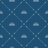 padrão sem emenda de papel de parede real com coroa e elementos decorativos. fundo de luxo vetor