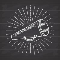 megafone ou megafone, alto-falante, esboço desenhado de mão em raios solares vintage retrô. ilustração vetorial isolada no fundo do quadro-negro. vetor