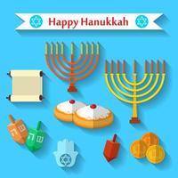 Happy hanukkah flat vector icons set with dreidel game, moedas, mão de miriam, palma de david, estrela de david, menorah, comida tradicional, torah e outros itens tradicionais