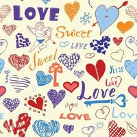 dia dos namorados mão desenhada elementos padrão sem emenda. esboçou símbolos de corações de elementos de doodle e letras para convites de casamento, álbum de recortes, cartões, cartazes. embrulhos de presente vetor