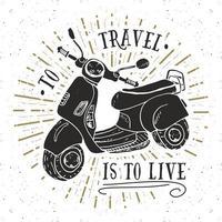 etiqueta vintage de motocicleta de scooter, esboço desenhado à mão, emblema retro texturizado grunge, impressão de t-shirt de design de tipografia, ilustração vetorial vetor