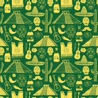 elementos de doodle de padrão sem emenda do México, esboço desenhado de mão chapéu sombrero tradicional mexicano, poncho, cacto e garrafa de tequila, mapa do México, crânio, instrumentos musicais. fundo da ilustração do vetor. vetor