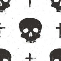 crânio e cruz sumbol padrão sem emenda, ilustração em vetor esboço desenhado à mão