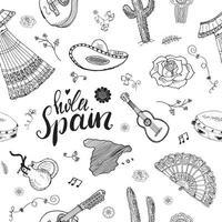 Espanha sem costura padrão doodle elementos, esboço desenhado à mão guitarras tradicionais espanholas, vestido e instrumentos musicais, mapa da Espanha e letras - hola, Espanha. ilustração vetorial fundo vetor