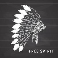 cocar tradicional nativo americano com penas de pássaro e miçangas. lenda tribal em estilo indiano, ilustração vetorial, espírito livre de letras no quadro-negro vetor
