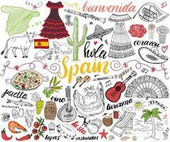 Espanha esboço desenhado à mão definir ilustração vetorial vetor