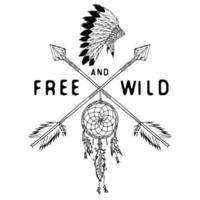 apanhador de sonhos e setas cruzadas, lenda tribal em estilo indiano com headgeer tradicional. apanhador de sonhos com penas de pássaros e miçangas. ilustração em vetor vintage, letras livres e selvagens. isolado