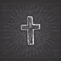 rótulo vintage, cruz cristã desenhada à mão, sinal religioso, símbolo do crucifixo grunge texturizado distintivo retrô, impressão de t-shirt de design de tipografia, ilustração vetorial no fundo do quadro-negro. vetor