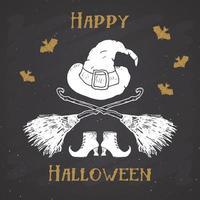 etiqueta vintage de cartão de saudação de halloween, itens de bruxa de esboço desenhado à mão, distintivo retro texturizado de grunge, impressão de t-shirt de design de tipografia, ilustração vetorial no fundo do quadro-negro vetor
