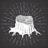 etiqueta vintage de toco de árvore, esboço desenhado à mão, distintivo retro texturizado grunge, impressão de t-shirt com design de tipografia, ilustração vetorial no fundo do quadro-negro vetor