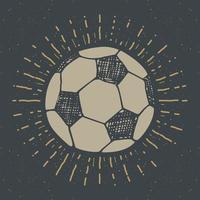 rótulo vintage, futebol desenhado à mão, esboço de bola de futebol, emblema retro texturizado grunge, impressão de t-shirt com design de tipografia, ilustração vetorial vetor