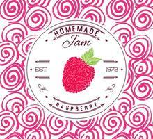 modelo de design de etiqueta de atolamento. para produto de sobremesa de framboesa com fundo e frutas esboçadas de mão desenhada. ilustração de framboesa do doodle identidade da marca vetor