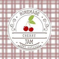 modelo de design de etiqueta de atolamento. para cereja sobremesa produto com mão desenhada esboçado frutas e plano de fundo. identidade da marca do doodle vector cereja ilustração