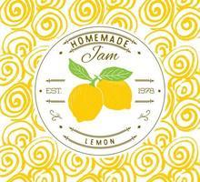 modelo de design de etiqueta de atolamento. para produto de sobremesa de limão com fundo e frutas esboçadas de mão desenhada. identidade da marca ilustração do doodle do vetor
