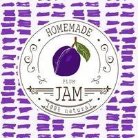 modelo de design de etiqueta de atolamento. para produto de sobremesa de ameixa com fundo e frutas esboçadas de mão desenhada. ilustração de ameixa do doodle do vetor identidade da marca