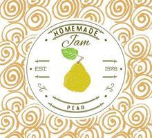 modelo de design de etiqueta de atolamento. para produto de sobremesa de pêra com fundo e frutas esboçadas de mão desenhada. ilustração da marca da pêra do doodle do vetor