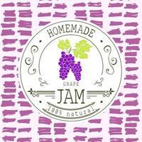 modelo de design de etiqueta de atolamento. para produto de sobremesa de uva com fundo e frutas esboçadas de mão desenhada. identidade da marca ilustração vetorial doodle vetor