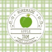 modelo de design de etiqueta de atolamento. para maçã sobremesa produto com mão desenhada esboçado frutas e plano de fundo. ilustração da marca da ilustração do doodle do vetor da maçã