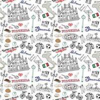 Milão Itália sem costura padrão com mão desenhada esboço elementos Catedral duomo, bandeira, mapa, pizza, transporte e comida tradicional. desenho ilustração em vetor doodle, isolado no branco
