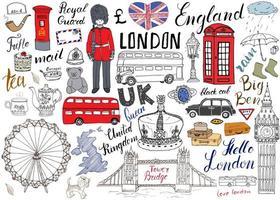 coleção de elementos doodles da cidade de Londres. conjunto desenhado à mão com, ponte da torre, coroa, big ben, guarda real, ônibus vermelho e táxi preto, mapa e bandeira do Reino Unido, bule de chá, letras, ilustração vetorial isolada vetor