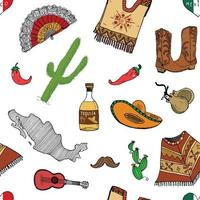 elementos de doodle de padrão sem emenda do México, esboço desenhado de mão chapéu sombrero tradicional mexicano, botas, poncho, garrafa de cacto e tequila, mapa do México, instrumentos musicais. ilustração vetorial fundo vetor