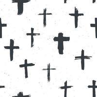 cruz símbolos padrão sem emenda grunge desenhado à mão cruzes cristãs, ícones de sinais religiosos, ilustração em vetor símbolo crucifixo