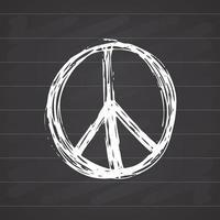 símbolo da paz, hippie grunge desenhado à mão ou sinal pacifista, ilustração vetorial, isolada no fundo branco vetor