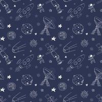 espaço doodles padrão sem emenda de ícones. esboço desenhado mão com meteoros, sol e lua, radar, foguete de astronauta e estrelas. ilustração vetorial vetor