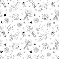 espaço doodles padrão sem emenda de ícones. esboço desenhado mão com meteoros, sol e lua, radar, foguete de astronauta e estrelas. ilustração vetorial isolada vetor