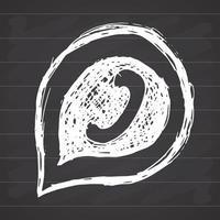 monofone do telefone no ícone de mão desenhada de balão, ilustração vetorial no fundo do quadro-negro. vetor